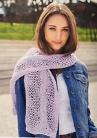 KNITTING PATTERN Ladies Zigzag Mesh Detailed Scarf Light Accessory Sublime Aran