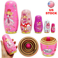 5pcs Wooden Angel Fairy Nesting Russian Dolls Set Babushka Matryoshka Girl Gift