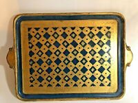 Vtg Painted Blue & Gilded Gold Rectangular Wood Serving Tray 22x15 Italy VIETRI