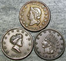1863 1864 Civil War Tokens Lot of 3 - Token Medal Rare Lot 43/388 #J061