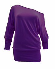 WOMENS ONE OFF SHOULDER BATWING LONG SLEEVE SLOUCHY T-SHIRT TOP PLUS SIZES 8-26