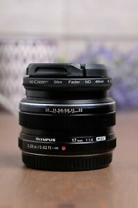 Olympus M.Zuiko 17mm f/1.8 AF ED Lens MFT Micro Four Thirds w/Caps & ND Fader