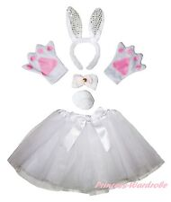 Easter Party Adult White Bling Bunny Rabbit Headband Paw Tail Bow Skirt Costume