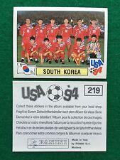 USA 94 1994 n 219 SQUADRA TEAM COREA SOUTH KOREA Figurina Sticker Panini (NEW)