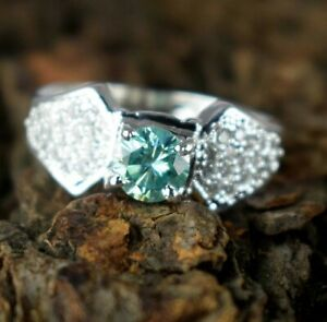 3.36 Ct  Green Diamond Solitaire  Round Men's Ring With Accents