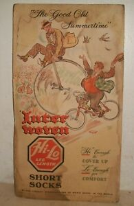 "1946 INTERWOVEN SOCKS 20"" X 11"" Cardboard Sign High wheel Bicycle Double sided"