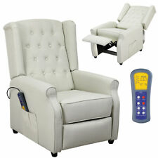 Poltrona Massaggiante Riscaldante Reclinabile Elettrica Relax Tessuto Beige
