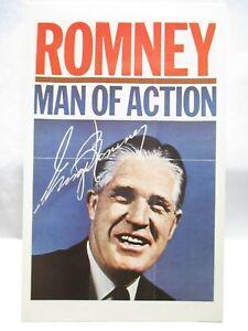"1960s POLITICAL POSTCARD ELECT "" ROMNEY MAN OF ACTION "" GOV. OF MICHIGAN UNUSED"