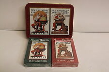 Norman Rockwell Playing Cards 2 Sealed Decks / Tin Christmas Saturday Evening