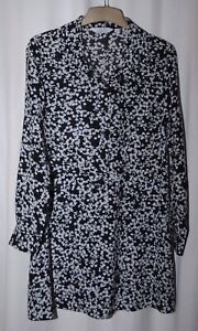 & Other Stories Ladies Short Black & White Floral Shirt Dress Uk Size 14