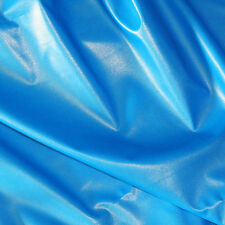"PU FLUORESCENT VINYL 2WAY STRETCH PLEATHER GOTH DRESS CAT SUIT NEON BLUE 54"" BTY"