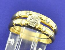 0.91 ct 14k Solid Yellow Gold Engagement Wedding Diamond Ring Set   pre-owned
