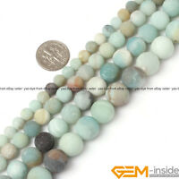 "Natural Stone Amazonite Quartz Frost Matte Round Beads 15"" 4mm 6mm 8mm 10mm 12mm"