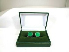 Men's Natural Green Onyx Solid Sterling Silver Italian Lock Cufflinks