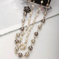 Long Camellia Necklace Women Jewelry Gift Pendant Double Layer Long Chain Pearl