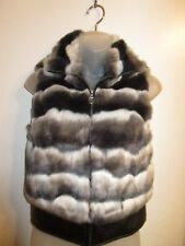 bebe XS Sleeveless Vest Jacket Faux Leather Fur Black Grey White Outdoor Stylish
