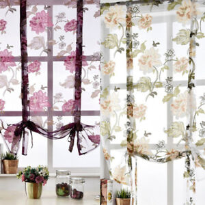 Adorable Floral Tie Up Short Window Curtain Roman Curtain Sheer Rod Pocket