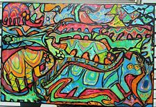 ANIMAL FANTASY by Ruth Freeman ACRYLIC ON UNSTRETCHED CANVAS 30 X 45
