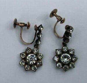 Victorian Antique Paste Diamond Drop Dangle Earrings 9ct Gold Silver Screw Backs