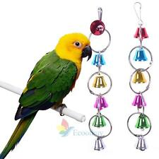 Colorful Wood Hanging Chew Bell Ball Cage Playing Pet Parrot Bird Parakeet Toy A
