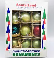 "Vintage Santa Land Glass Ornaments Christmas Balls in Box 7 Poland Italy 2"" Bump"