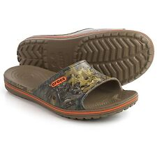 NWT CROCS Crocband Lopro Realtree Xtra Slide Sandals, Men's Size 10 Walnut
