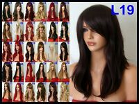 Black Brown Blonde Red wig Long Curly Straight Wavy Full Head Ladies Hair Wigs