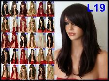 Sleek Black Plum Wig Ladies Natural Looking Party Full Wig Fringe Womans Wig L19