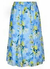 Blue Lemon yellow floral Midi paneled pull on SKIRT lined 20 desk to dinner NEW