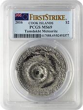 2016 $2 Cook Islands Tamdakht Meteorite Strike .999 Silver Coin PCGSMS69 FS