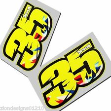 Cal Crutchlow 35 flourescent  motorcycle decals custom graphics x 2 small size