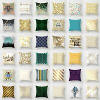 "18"" Polyester Gold Shining Printed Pillow Case Sofa Cushion Cover Home Decor"