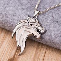 Para hombres Punk Fashion Jewelry Wolf Head Collar colgante de plata de acero