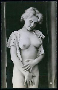 Biederer French nude woman puffy blonde original c1925 photo postcard