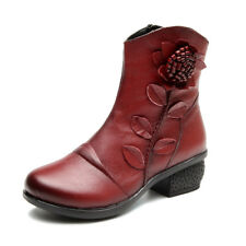 SOCOFY Retro Women Ankle Floral Pattern Stitching Zipper Leather Winter Boots