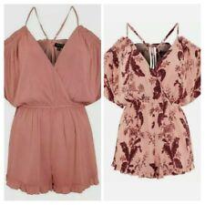 Set of 2 New Topshop Blush Pink/Floral Cold Shoulder Rompers Cover-up Playsuit