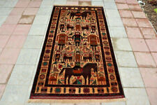 3.7 X 6.5 FT Amazing Pictorial Zakani Family Tribal belouch Carpet