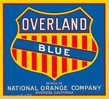 Riverside California Overland Orange Citrus Fruit Crate Box Label Art Print