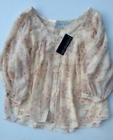 Forever New Woven Top Blouse Cream Warm Floral Pleat Pink Daisy Leaves New