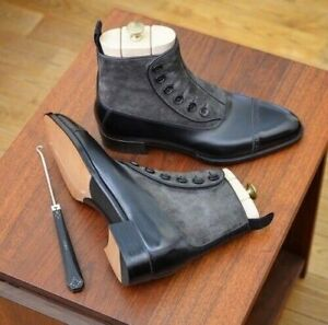 Handmade Men Two Tone Leather & Suede Button Boot, Black & Gray Ankle High Boots
