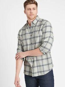 NEW Banana Republic Mens Untucked Slim Fit Flannel Plaid Shirt M L LT Tall NWT