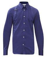 ALEXANDER MCQUEEN Harness-embellished cotton-blend poplin polo shirt RRP375£