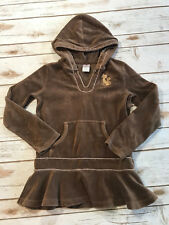 Gymboree Girls 8 Glamour Kitty Cat Brown Velour L/S Hoodie Tunic Top Ruffle Soft