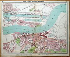 WOOLWICH,ROYAL DOCKS,SILVERTOWN Original London Street Plan Antique Map 1921