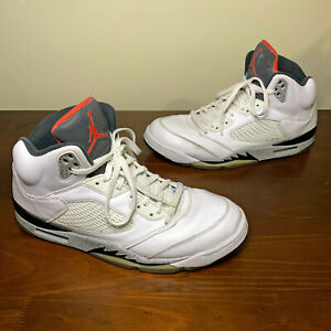 2017 Nike Air Jordan Retro 5 White Cement Shoe Mens Size 13 136027-104 Beaters