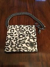 ALEXANDER MCQUEEN Leopard Print Leather Wallet with Chain