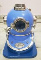 Hand Crafted BLUE Copper Scuba Morse Boston Brass Diving Helmet US Navy Divers H