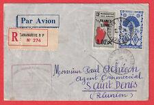 1ER VOL FRANCE LIBRE MADAGASCAR LA REUNION 1943 CENSURE LETTRE COVER