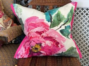"""DESIGNERS GUILD FABRIC CUSHION COVER SHANGHAI GARDEN PEONY 17x17"""" WITH TRIM"""