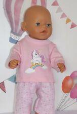 "Dolls Clothes to fit 17"" Baby Born Light Pink Unicorn Top  Pyjamas"